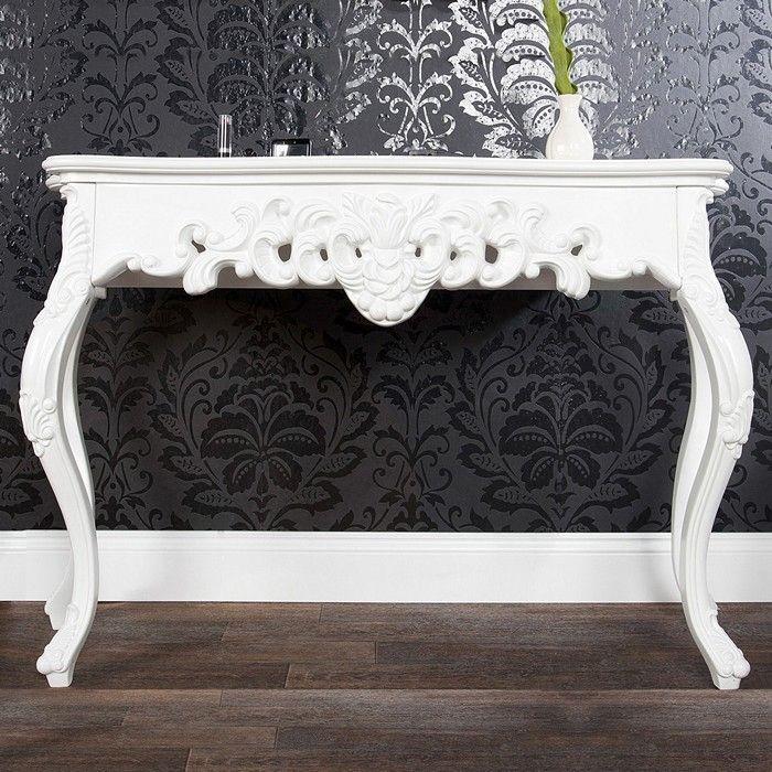 Romantische Konsole FLORENCE Weiß in Barock-Design 110cm x 35cm
