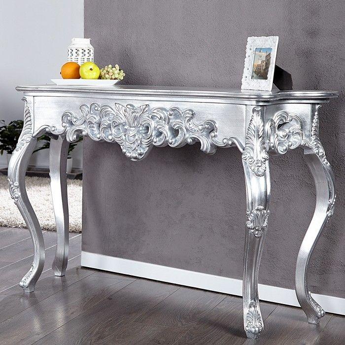 Romantische Konsole FLORENCE Silber Antik in Barock-Design 110cm x 35cm