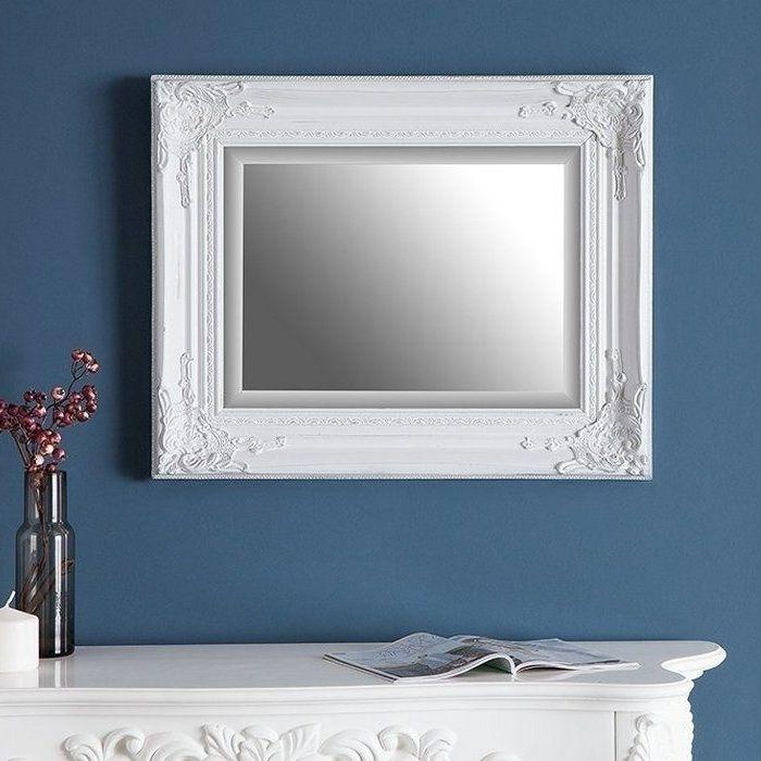 Romantischer Wandspiegel LOUVRE Weiß Antik in Barock-Design 55cm x 45cm