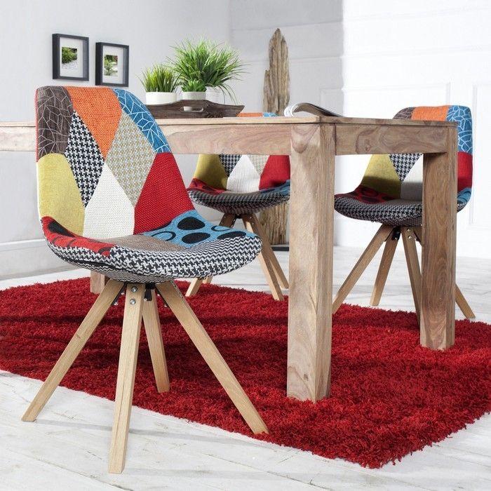 Retro Stuhl GÖTEBORG Patchwork-Eiche Strukturstoff im skandinavischen Stil