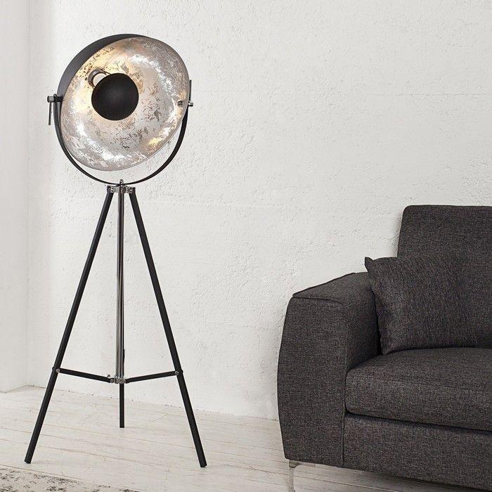 Stehlampe SPOT Schwarz-Silber 160cm Höhe verstellbar