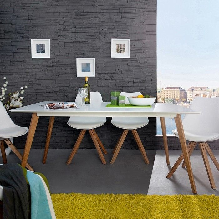 Retro Esstisch GÖTEBORG Weiß-Eiche 160cm im skandinavischen Stil