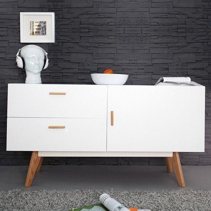 Retro Sideboard GÖTEBORG Weiß-Eiche 120cm im skandinavischen Stil