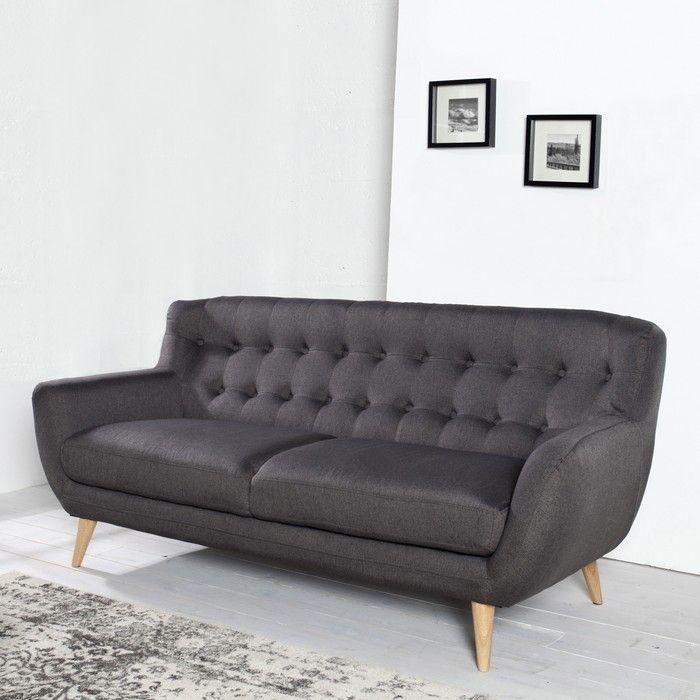 Retro 3er Sofa GÖTEBORG Anthrazit-Eiche im skandinavischen Stil