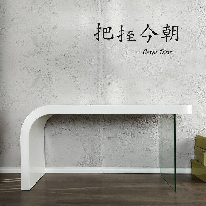 Schreibtisch BIRMINGHAM Weiß Hochglanz mit Glasstandfuß 140cm