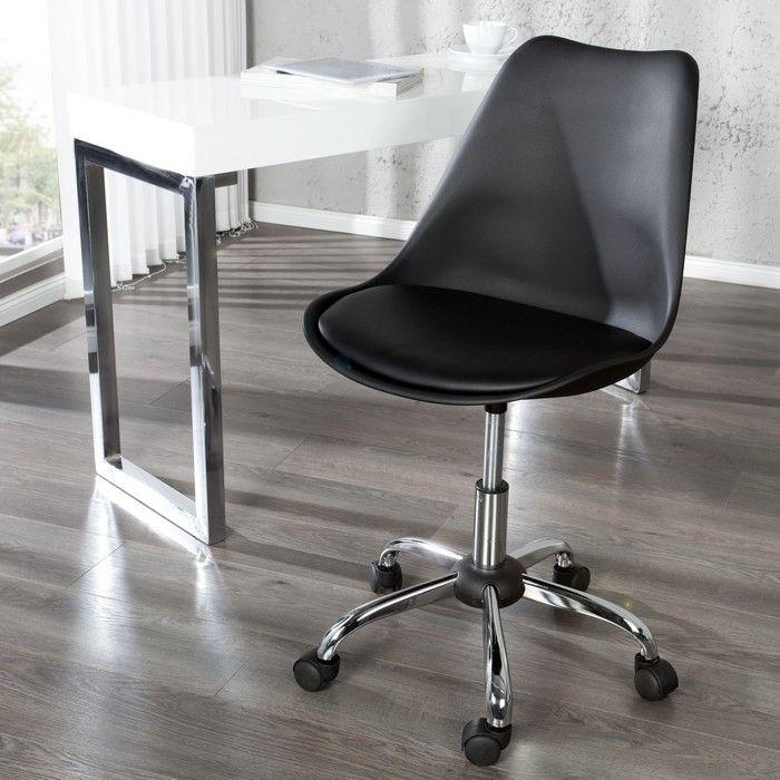 Retro Bürostuhl GÖTEBORG Schwarz & Chromgestell im skandinavischen Stil