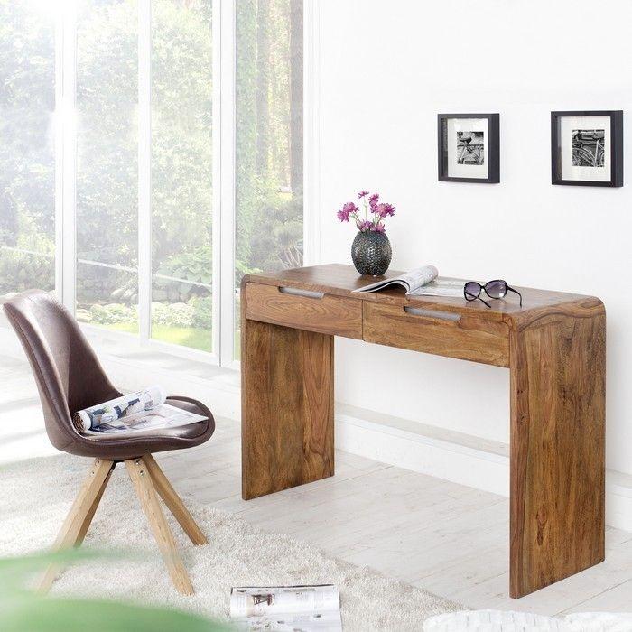 Schreibtisch DAIPUR mit 2 Schubladen Sheesham massiv Holz gewachst 120cm