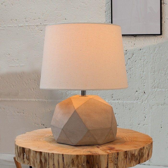 Tischlampe URBANO Beige & Grau mit Fußsockel in Diamantenform aus Feinbeton 33cm Höhe