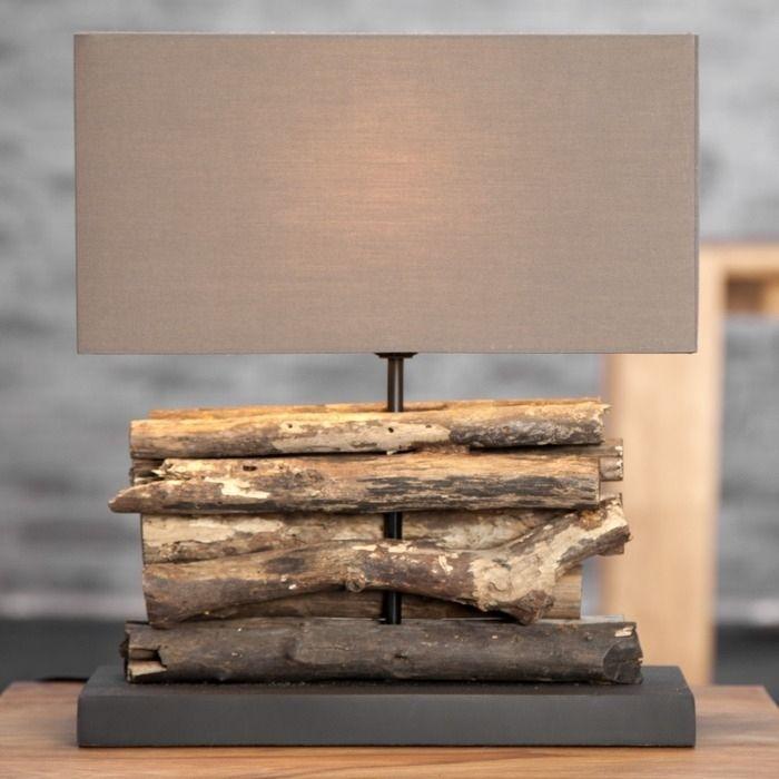 Tischlampe AMBON Braun aus Treibholz handgefertigt 40cm Höhe