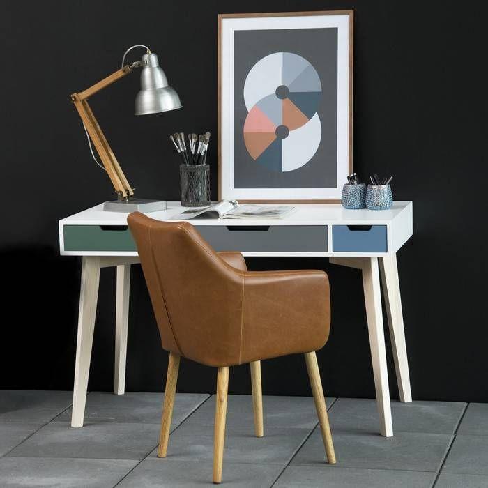 Schreibtisch AARHUS Weiß-Esche mit 3 Schubladen in Grün-Grau-Blau 120cm