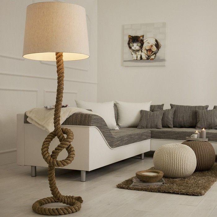 Stehlampe SCHIFFSTAU Beige aus Manilahanf handgefertigt 160cm Höhe mit Knoten & Schlaufen