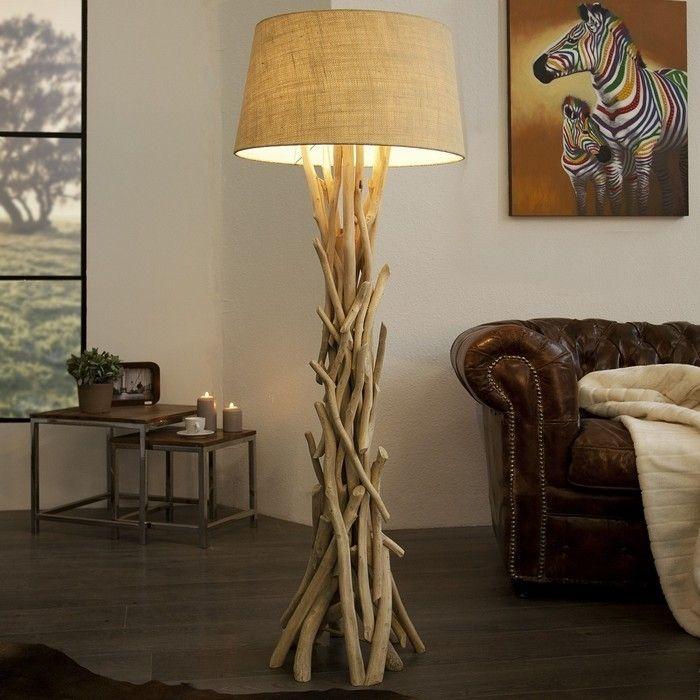 Stehlampe KEMANG Beige aus Treibholz handgefertigt 155cm Höhe