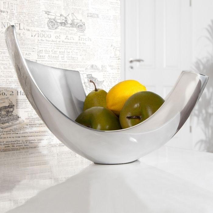 Außergewöhnliche Design Obstschale CLEO Silber aus poliertem Aluminium 30cm