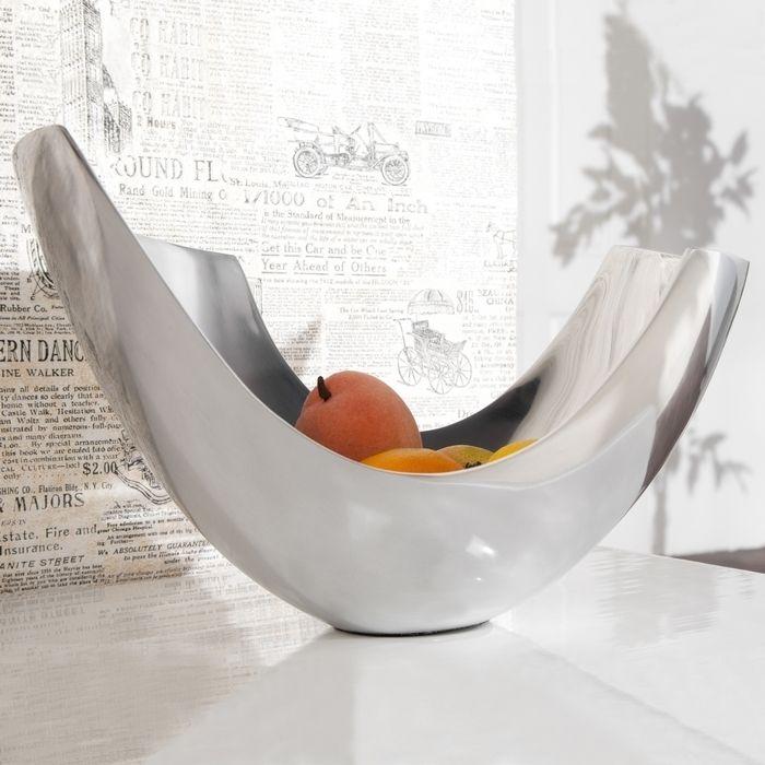 Außergewöhnliche Design Obstschale CLEO Silber aus poliertem Aluminium 35cm