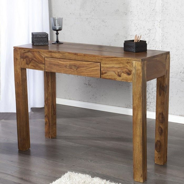 Schreibtisch AGRA mit Schublade Sheesham massiv Holz gewachst 100cm
