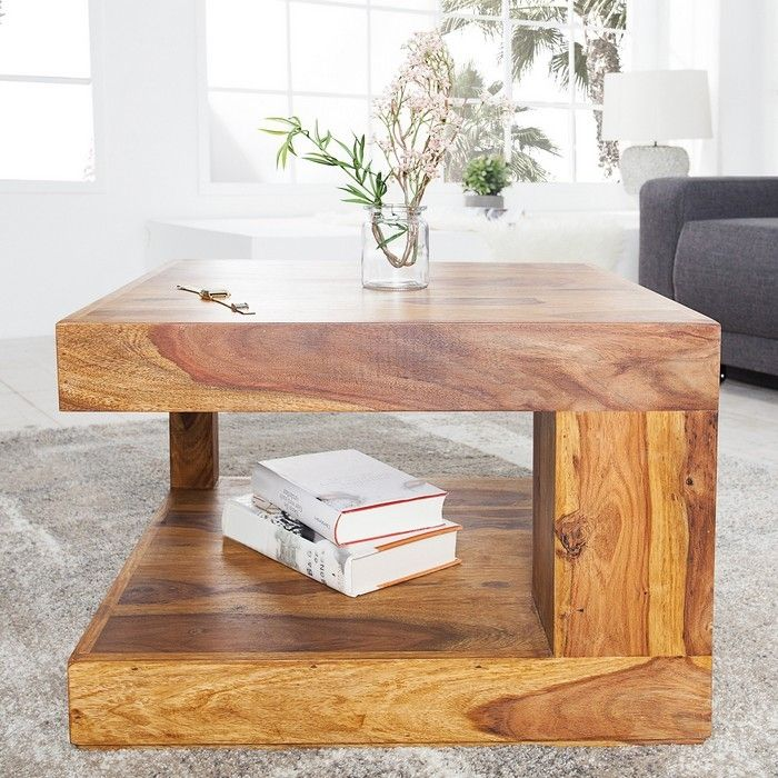 Couchtisch AGRA Sheesham massiv Holz gewachst 60cm x 60cm