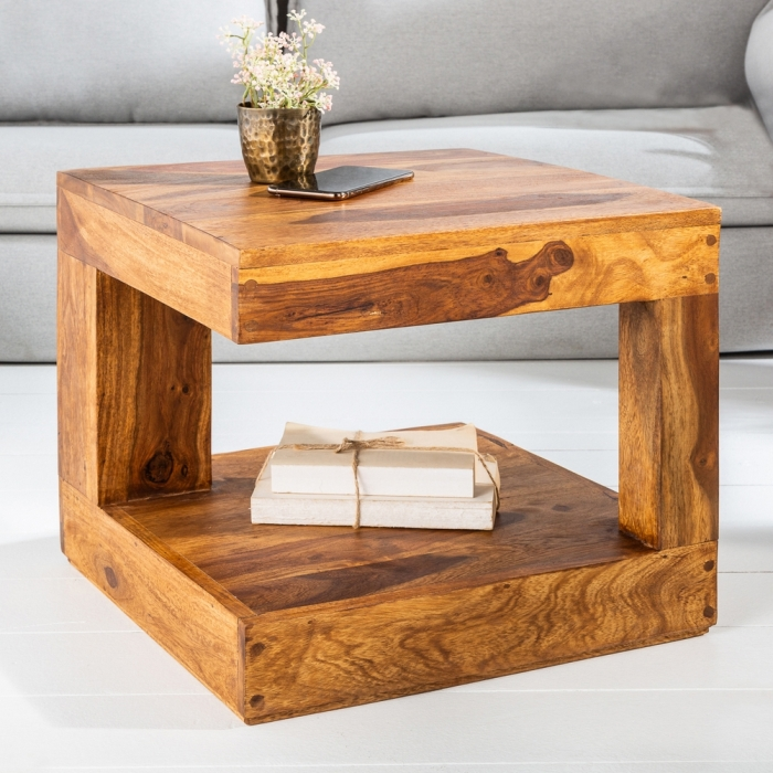 Couchtisch AGRA Sheesham massiv Holz gewachst 45cm x 45cm