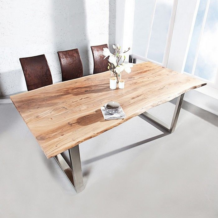 Esstisch AMBA Natur massiv Akazienholz 160cm & 35mm Tischplatte