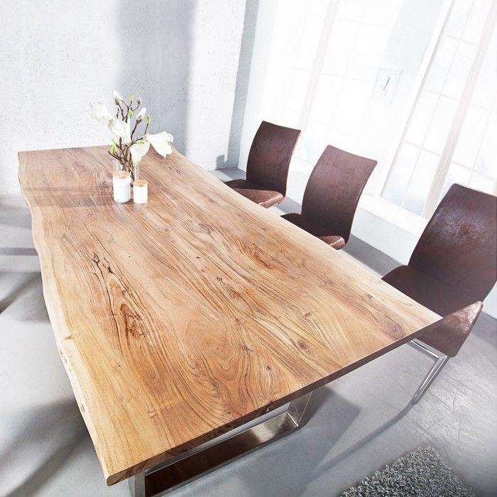 Esstisch AMBA Natur massiv Akazienholz 180cm & 35mm Tischplatte
