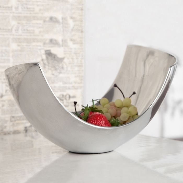 Außergewöhnliche Design Obstschale CLEO Silber aus poliertem Aluminium 25cm