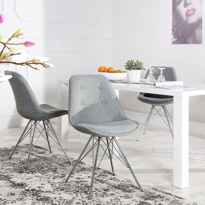 Retro Stuhl GÖTEBORG Grau mit Knöpfen Strukturstoff & Chromgestell im skandinavischen Stil
