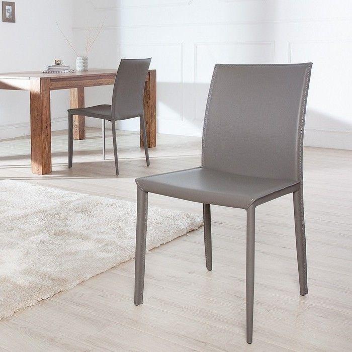 Stuhl BOSTON Grau aus Echtleder mit Ziernaht - Komplett montiert!