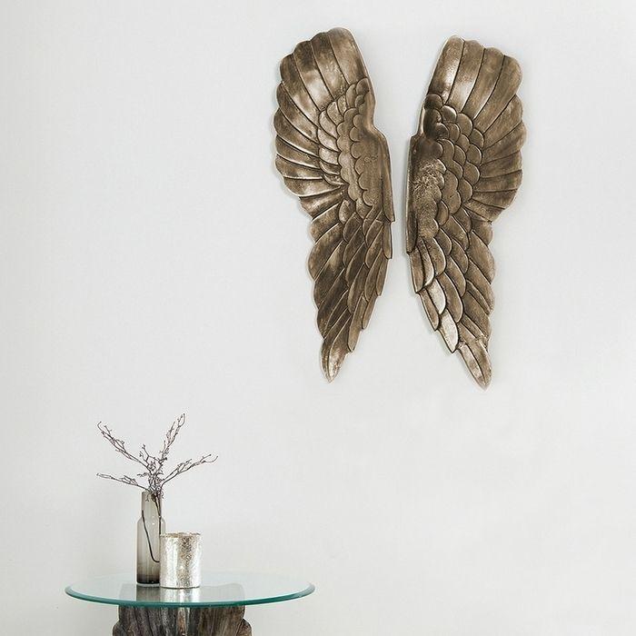 XL Wanddeko Flügelpaar WINGS Bronze-Silber Antik aus poliertem Aluminium 65cm