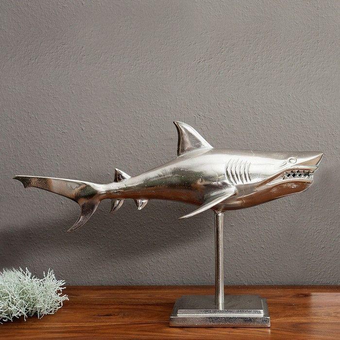 Deko Skulptur Tigerhai NICO stehend mit Standfuß Silber aus poliertem Aluminium 70cm
