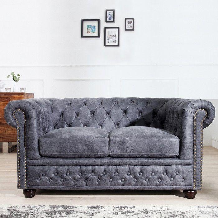 2er Sofa WINCHESTER Grau im klassisch englischen Chesterfield-Stil