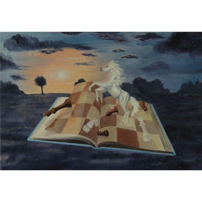 Original und Unikat: Handgemaltes Ölgemälde 'UN ECLAIR...PUIS LA NUIT!' 67 x 97cm