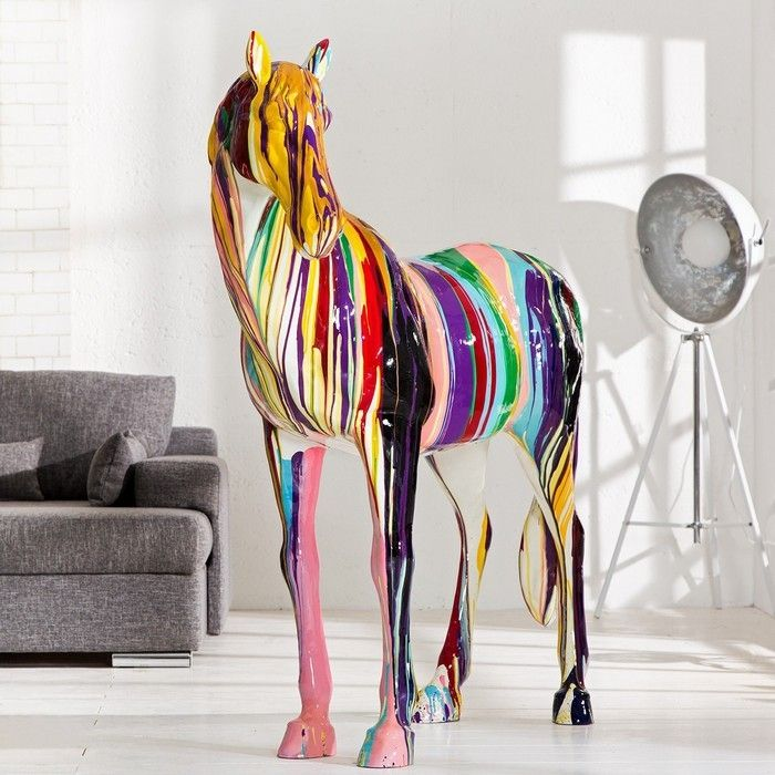 XXL Deko Skulptur Pop Art Pferd STALLION Bunt aus Fiberglas handbemalt 140cm x 160cm