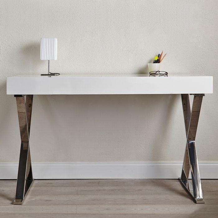Schreibtisch LONDON Weiß Hochglanz & Gestell Chrom 100cm