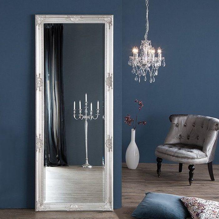 XXL Romantischer Wandspiegel VERONIQUE Silber Antik in Renaissance-Design 185cm x 75cm