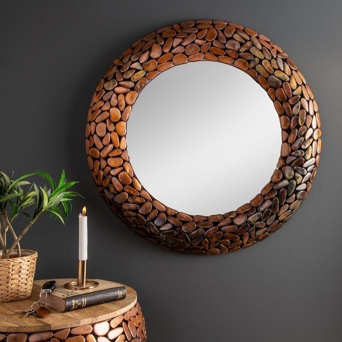 Wandspiegel RAVENNA Kupfer aus Metallplättchen im Mosaik-Design handgefertigt 82cm Ø