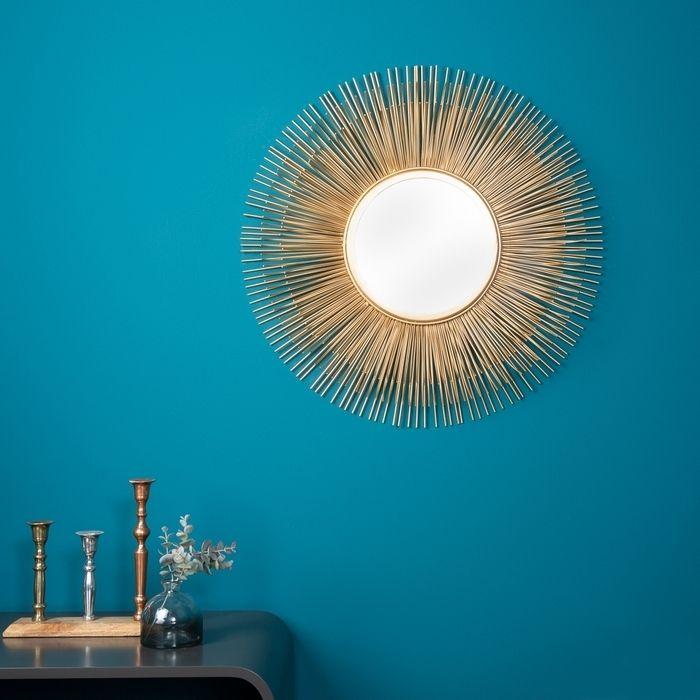 Wandspiegel SUNSET Gold aus Metallstäbchen handgefertigt 61cm Ø