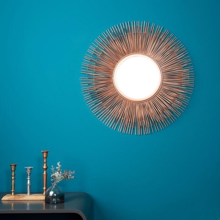 Wandspiegel SUNSET Kupfer aus Metallstäbchen handgefertigt 61cm Ø