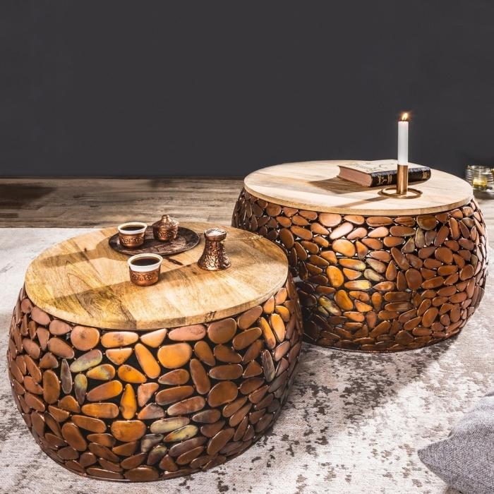 2er Set Couchtische RAVENNA Kupfer aus Mangoholz mit Metallplättchen im Mosaik-Design handgefertigt 85cm Ø