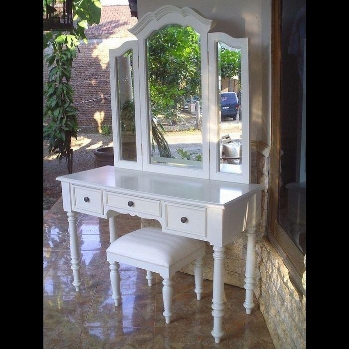 Mahagoni Frisiertisch CHINTYA Weiß inkl. 3er Spiegel & Hocker 120cm