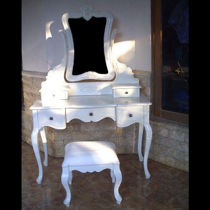 Mahagoni Frisiertisch JOSEPHINE Weiß inkl. Spiegel & Hocker 110cm