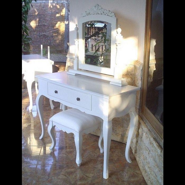 Mahagoni Frisiertisch SCARLET Weiß inkl. Spiegel & Hocker 115cm