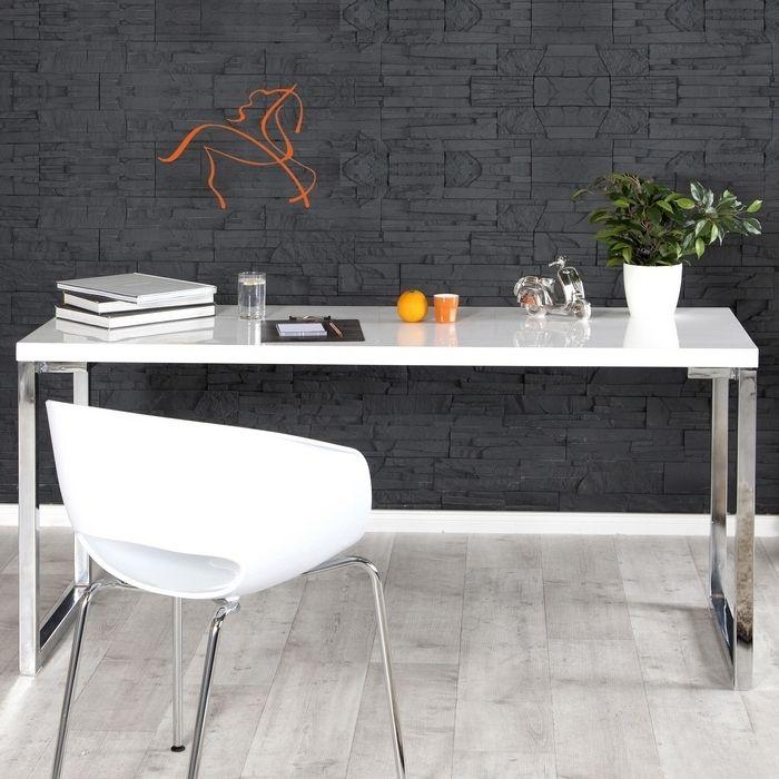 Schreibtisch OXFORD Weiß Hochglanz 140cm
