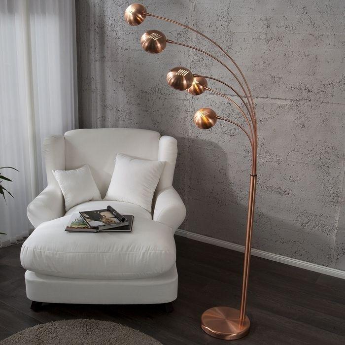 XL Stehlampe TULIPA Kupfer glänzend mit Kupferfuß 205cm Höhe