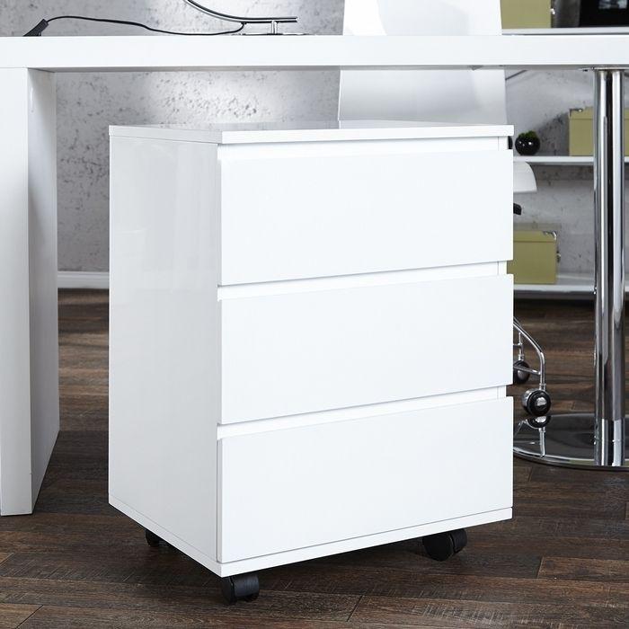 Rollcontainer CARDIFF Weiß Hochglanz mit 3 Schubladen 63cm
