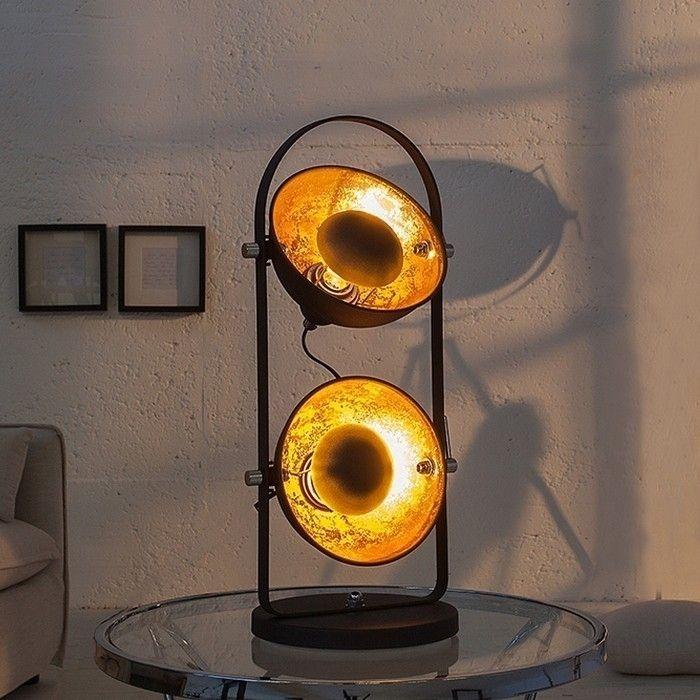 2er Tischlampe SPOT Schwarz-Gold 55m Höhe