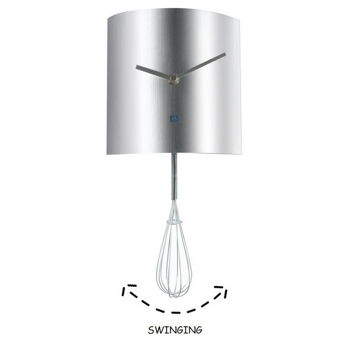 Wanduhr KITCHEN Schneebesen Pendulum Silber 34cm