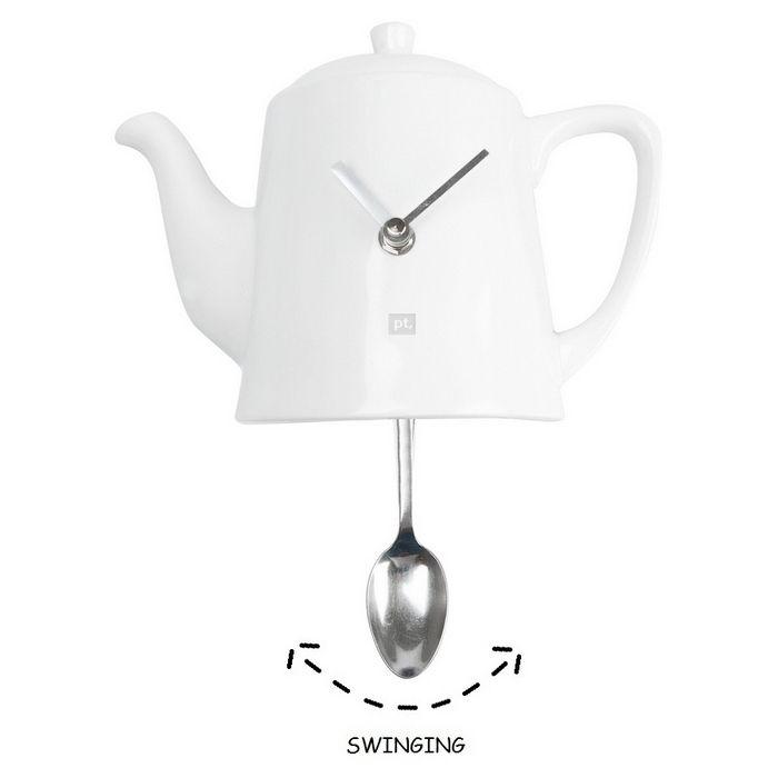 Wanduhr KITCHEN Teekanne Pendulum Weiß 22cm Höhe