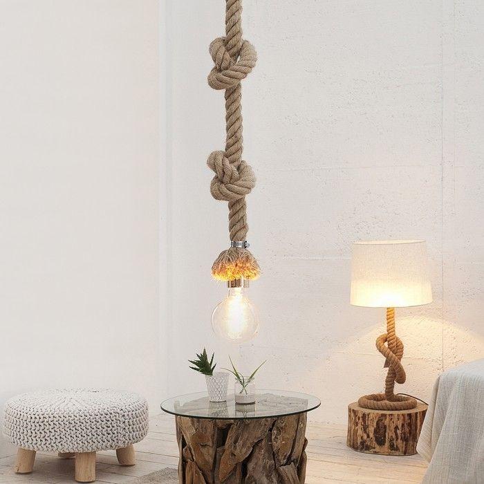 Hängelampe SCHIFFSTAU Beige aus Manilahanf handgefertigt 150cm Höhe verstellbar mit Knoten & Schlaufen
