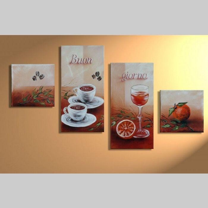 4 Leinwandbilder BUON GIORNO 80 x 50cm Handgemalt