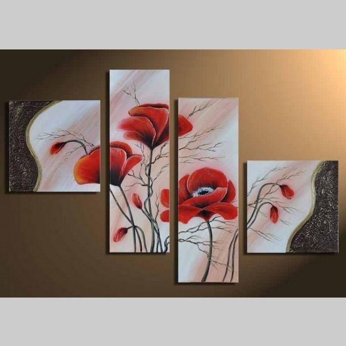 4 Leinwandbilder MOHN (1) 80 x 50cm Handgemalt