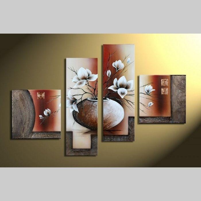 4 Leinwandbilder MAGNOLIA (1) 100 x 70cm Handgemalt
